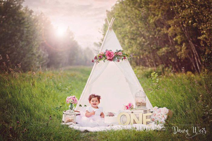 1st-birthday-cake-smash-girl-edmonton-st-albert-bohemian-pink-flowers-tent