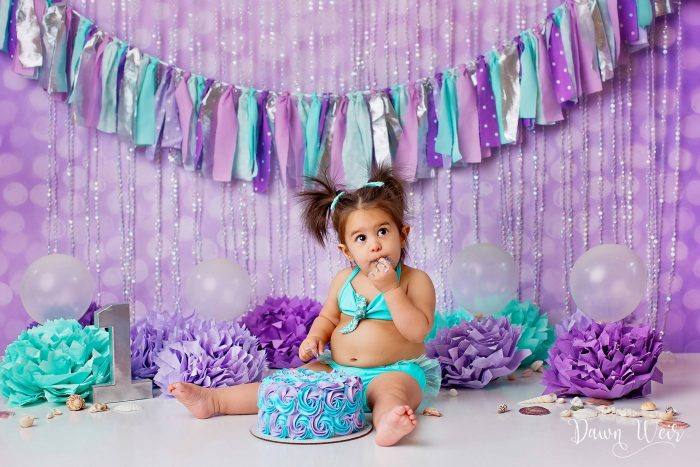 1st-birthday-cake-smash-girl-edmonton-st-albert-purple-turquoise-green-little-mermaid