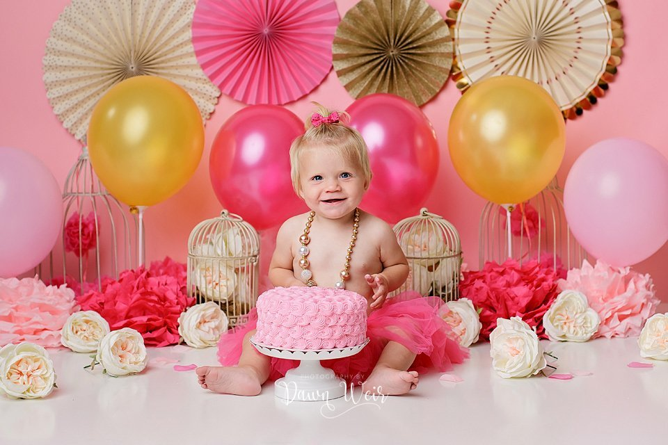 hot pink gold white girl 1st birthday cake smash edmonton alberta