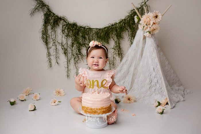 boho peach cream girl 1st birthday cake smash edmonton alberta