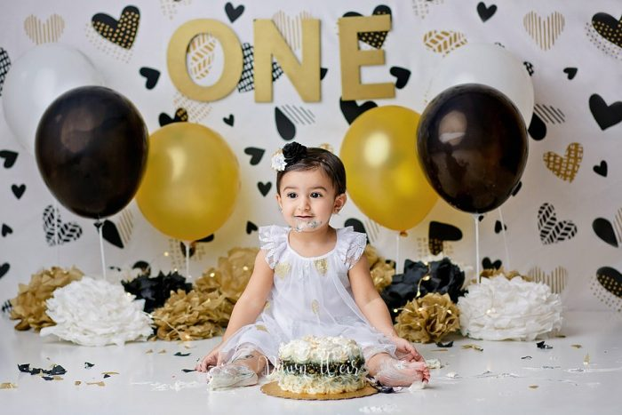 white gold and black heart theme girl 1st birthday cake smash edmonton alberta