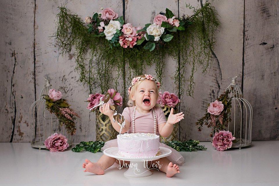 pink flowers boho girl 1st birthday cake smash edmonton alberta