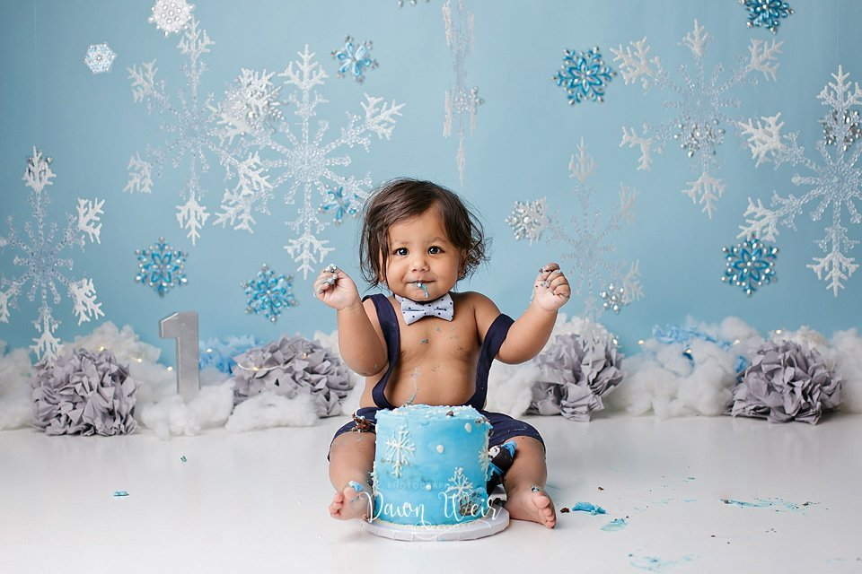 winter wonderland blue boy 1st birthday cake smash edmonton alberta