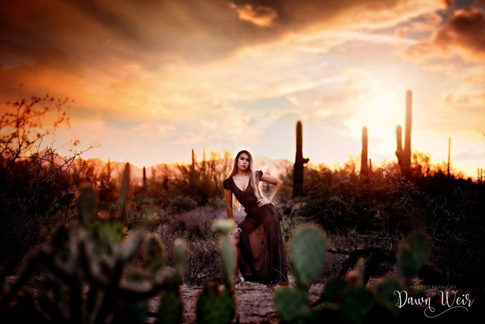 edmonton-model-photographer-dawn-weir-desert-model-black-dress-tuscon-arizona
