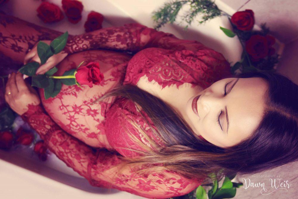 edmonton_maternity_photographer_dawn_weir_red_lace_gown_milk_bath