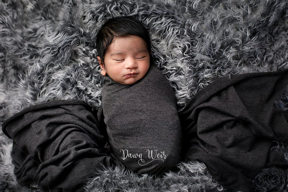 photo by photography by dawn weir newborn boy grey wrap on grey fur