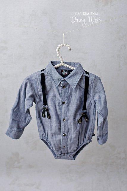 edmonton child photographer boy suspender blue long sleeve shirt