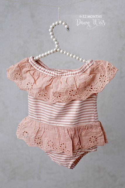 edmonton child photographer 6 to 12 months rose pink off the shoulder romper