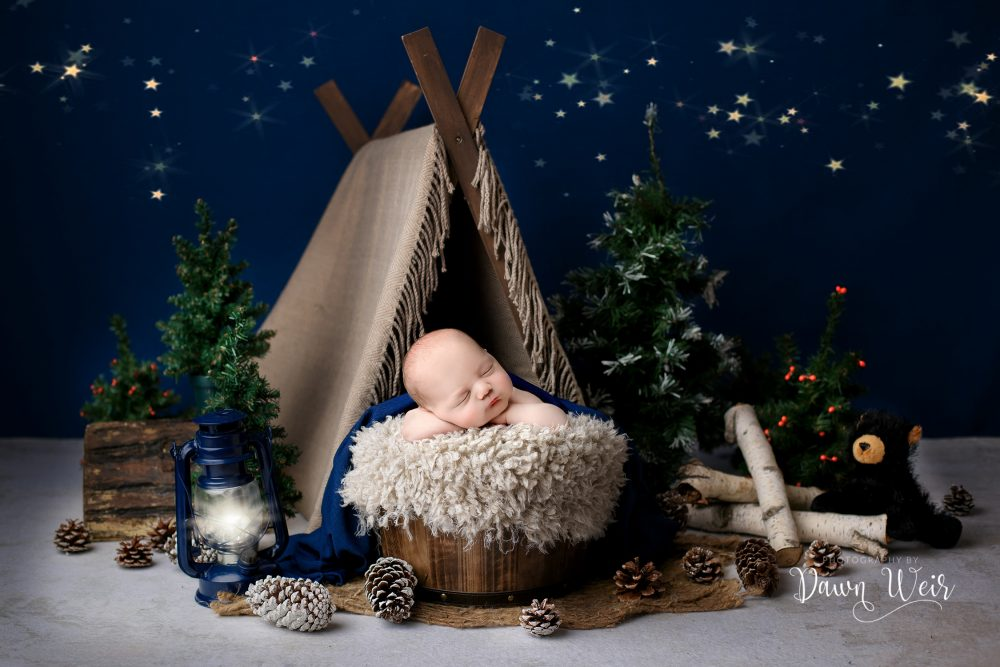 camping theme newborn photography blue star sky