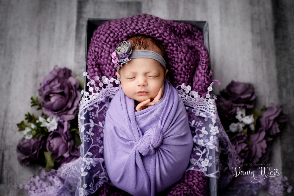 newborn girl wrapped in purple lying in a box with flowers