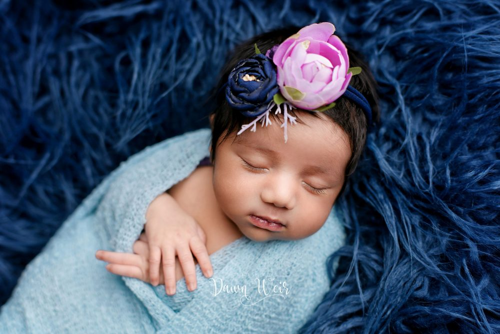 newborn baby girl lying on blue fur